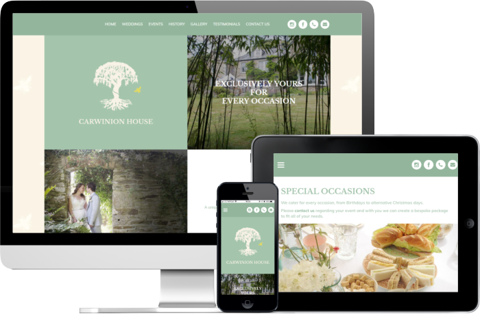 Carwinion House responsive website design